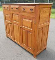Panelled Oak Reproduction Dresser Cupboard Base